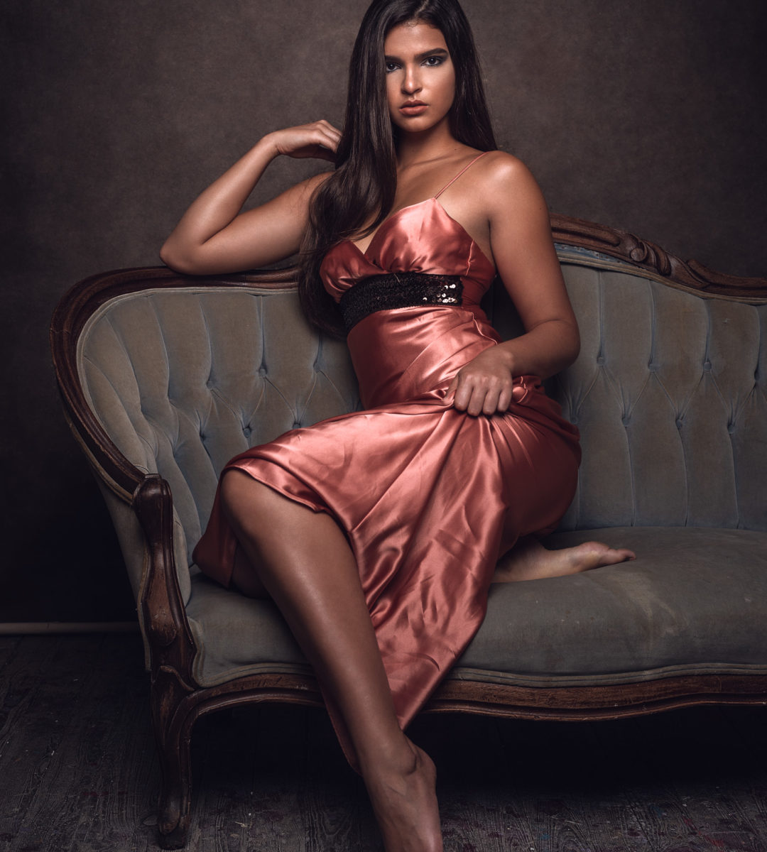 Photography Session With Model In Rose Satin Dress